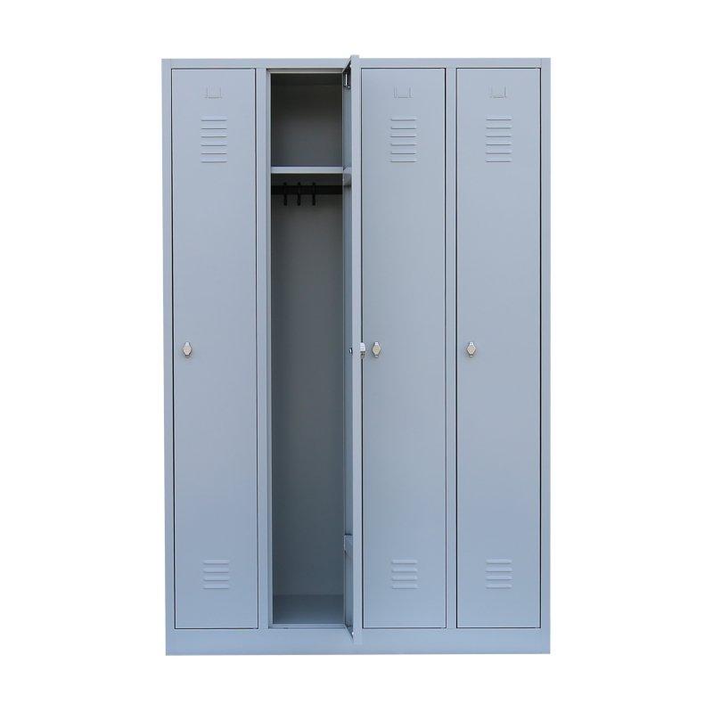 stahl kleiderschrank spind 4 abteile 120 cm ral 7035 lichtgrau. Black Bedroom Furniture Sets. Home Design Ideas