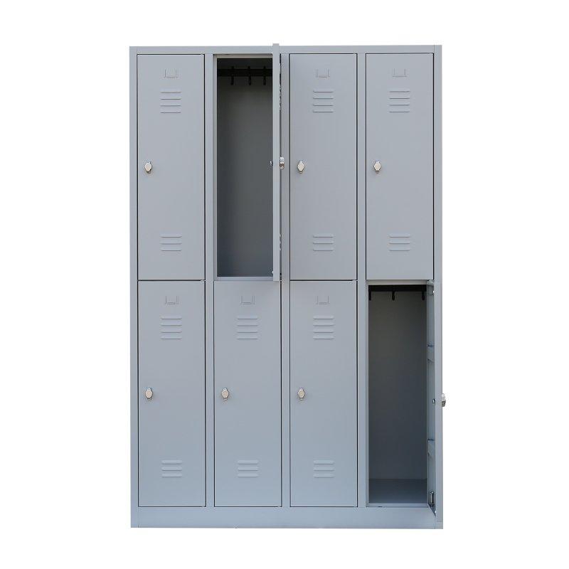 stahl kleiderschrank doppelst ckig 4 abteile 120 cm ral 7035 l. Black Bedroom Furniture Sets. Home Design Ideas