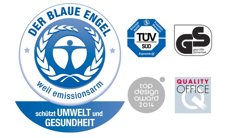 Siegel - der blaue Engel - TÜV - GS - Quality office