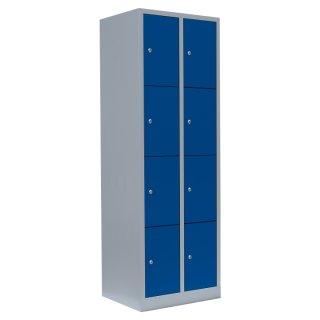 Fächerschrank, 2 Abteile, 8 Fächer, RAL 7035 lichtgrau / RAL 5010 enzianblau