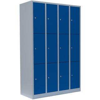 Fächerschrank, 4 Abteile, 12 Fächer RAL 7035 lichtgrau / RAL 5010 enzianblau
