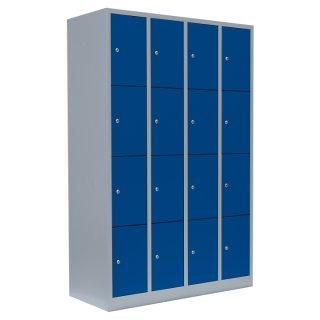 Fächerschrank, 4 Abteile, 16 Fächer RAL 7035 lichtgrau / RAL 5010 enzianblau
