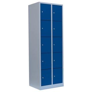 Fächerschrank, 2 Abteile, 10 Fächer RAL 7035 lichtgrau / RAL 5010 enzianblau