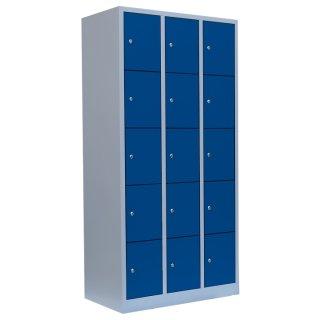 Fächerschrank, 3 Abteile, 15 Fächer RAL 7035 lichtgrau / RAL 5010 enzianblau