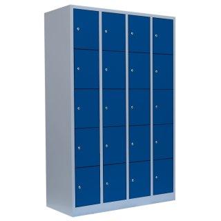 Fächerschrank, 4 Abteile, 20 Fächer RAL 7035 lichtgrau / RAL 5010 enzianblau