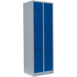 Fächerschrank XL, 2 Abteile, 6 Fächer RAL 7035 lichtgrau / RAL 5010 enzianblau