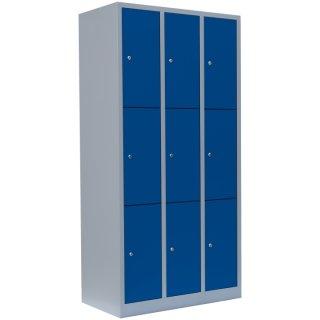 Fächerschrank XL, 3 Abteile, 9 Fächer RAL 7035 lichtgrau / RAL 5010 enzianblau
