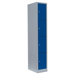 Fächerschrank XL, 1 Abteil, 4 Fächer RAL 7035 lichtgrau / RAL 5010 enzianblau