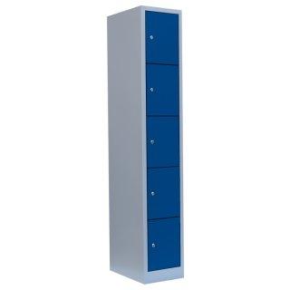 Fächerschrank XL, 1 Abteil, 5 Fächer RAL 7035 lichtgrau / RAL 5010 enzianblau