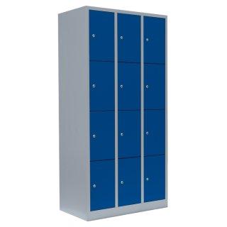 Fächerschrank, 3 Abteile, 12 Fächer RAL 7035 lichtgrau / RAL 5010 enzianblau