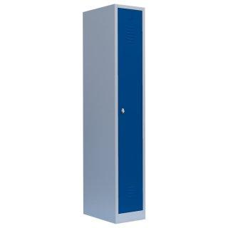 Stahl-Kleiderschrank / Spind, 1 Abteil, 30 cm RAL 7035 lichtgrau / RAL 5010 enzianblau