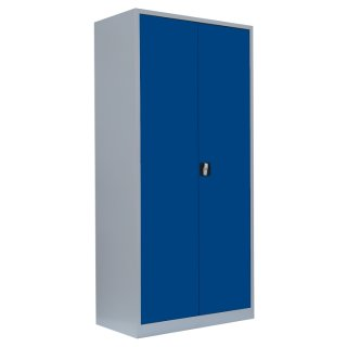 Flügeltürenschrank, 5 Ordnerhöhen, 92 cm breit, 60 cm tief RAL 7035 lichtgrau / RAL 5010 enzianblau