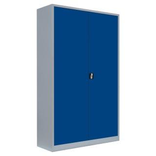 Flügeltürenschrank, 5 Ordnerhöhen, 120 cm breit, 42 cm tief RAL 7035 lichtgrau / RAL 5010 enzianblau