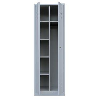 Stahl-Kleider-Wäscheschrank, 2 Abteile, 60 cm breit RAL 7035 lichtgrau / RAL 5010 enzianblau