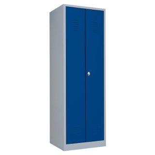 Stahl-Kleider-Wäscheschrank XL, 2 Abteile, 80 cm breit RAL 7035 lichtgrau / RAL 5010 enzianblau