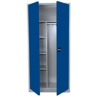 Stahl-Kleider-Wäscheschrank / Kleider-Aktenschrank, 2 Abteile, 80 cm breit RAL 7035 lichtgrau / RAL 5010 enzianblau