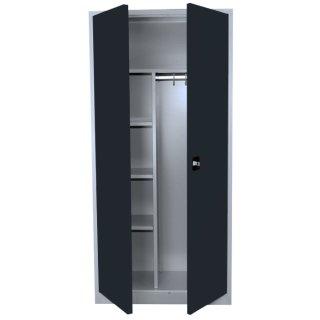 Stahl-Kleider-Wäscheschrank / Kleider-Aktenschrank, 2 Abteile, 80 cm breit RAL 9005 tiefschwarz / RAL 9005 tiefschwarz