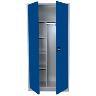 Stahl-Kleider-Wäscheschrank / Kleider-Aktenschrank, 2 Abteile, 92 cm breit RAL 7035 lichtgrau / RAL 5010 enzianblau