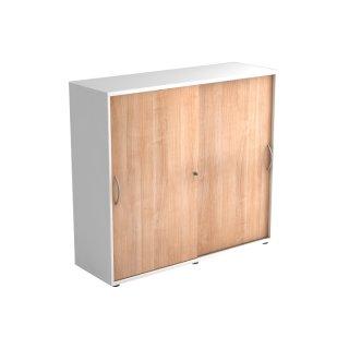 """Schiebetürenschrank """"BASIC"""" 3 Ordnerhöhen - Korpus weiß / Türen in nussbaum"""