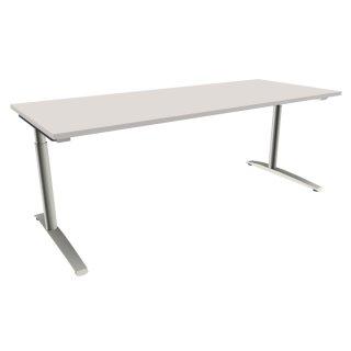 """Schreibtisch mit C-Fußgestell """"Premium"""", 200 x 80 cm lichtgrau"""