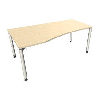 """EDV Schreibtisch mit 4-Fußgestell """"Premium"""", 180 x 80/100 cm, Ausrichtung links königsahorn"""