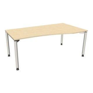 """EDV Schreibtisch mit 4-Fußgestell """"Premium"""", 180 x 80/100 cm, Ausrichtung rechts königsahorn"""