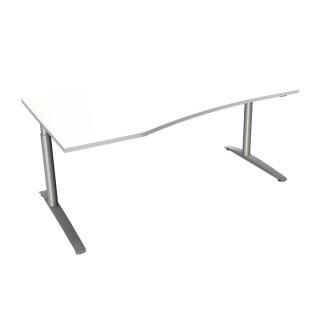 """EDV Schreibtisch mit C-Fußgestell """"Premium"""", 180 x 80/100 cm, Ausrichtung links weiß"""