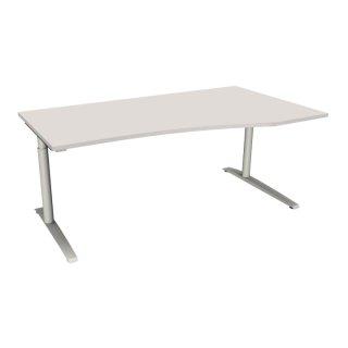 """EDV Schreibtisch mit C-Fußgestell """"Premium"""", 180 x 80/100 cm, Ausrichtung rechts lichtgrau"""