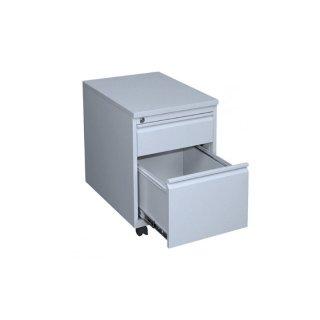 Rollcontainer mit Holzabdeckung, 1 Schublade / 1 Hängeregistraturschublade, 60 cm tief, lichtgrau / lichtgrau