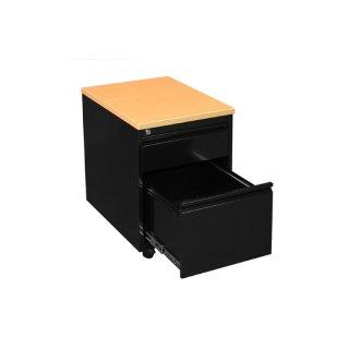 Rollcontainer mit Holzabdeckung, 1 Schublade / 1 Hängeregistraturschublade, 60 cm tief, schwarz / Buche-Dekor