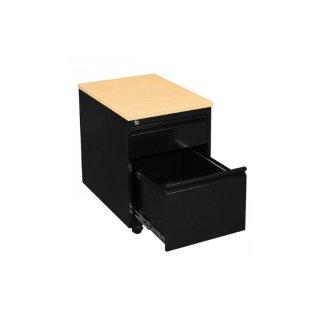 Rollcontainer mit Holzabdeckung, 1 Schublade / 1 Hängeregistraturschublade, 60 cm tief, schwarz / Ahorn-Dekor