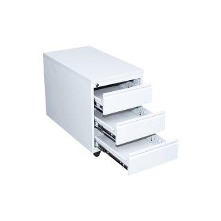 Rollcontainer mit Holzabdeckung, 1 Schublade / 1 Hängeregistraturschublade, 80 cm tief, weiß / weiß