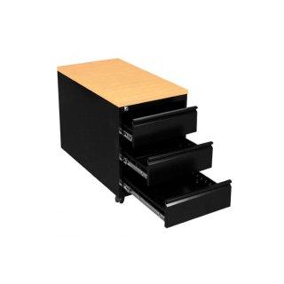 Rollcontainer mit Holzabdeckung, 3 Schubladen, 80 cm tief, schwarz / Buche-Dekor