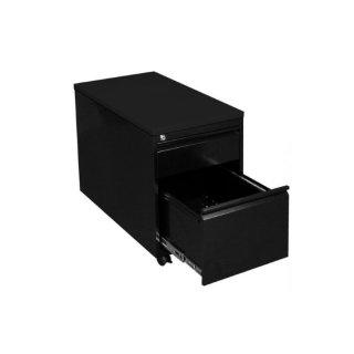 Rollcontainer mit Metallabdeckung, 1 Schublade, 1 Hängeregistraturschublade, 60 cm tief, RAL 9005 tiefschwarz