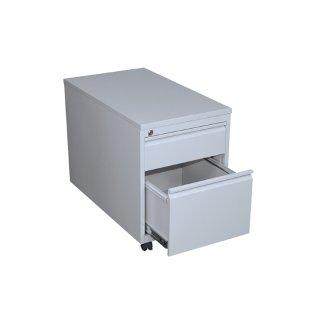 Rollcontainer mit Metallabdeckung, 1 Schublade, 1 Hängeregistraturschublade, 80 cm tief, RAL 7035 lichtgrau