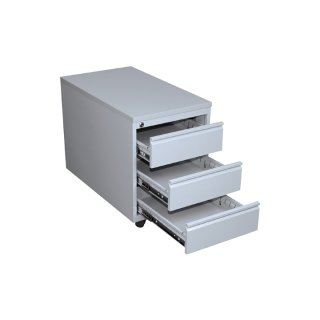 Rollcontainer mit Metallabdeckung, 3 Schubladen, 60 cm tief, RAL 7035 lichtgrau