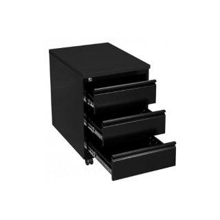 Rollcontainer mit Metallabdeckung, 3 Schubladen, 60 cm tief, RAL 9005 tiefschwarz