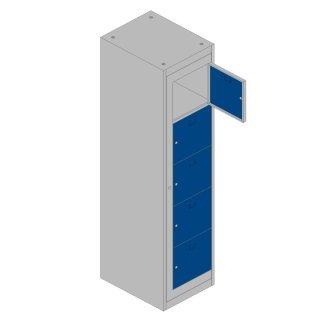 Verteilerschrank XL 1 Abteil, 5 Fächer, RAL 7035 lichtgrau / RAL 5010 enzianblau