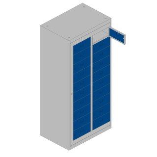 Verteilerschrank XL 2 Abteile, 20 Fächer, RAL 7035 lichtgrau / RAL 5010 enzianblau