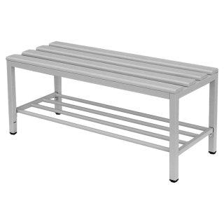 Sitzbank mit PVC-Auflage lichtgrau, mit Schuhrost, 150 cm breit