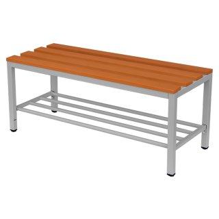 Sitzbank mit Buchenholz-Auflage, mit Schuhrost, 200 cm breit