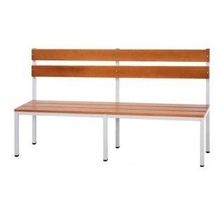 Sitzbank mit Buchenholz-Auflage und Rückenlehne ohne Schuhrost, 200 cm breit
