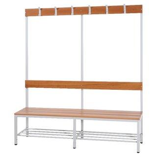 Sitzbankgarderobe mit Buchenholz-Auflage, einseitig, 120 cm breit
