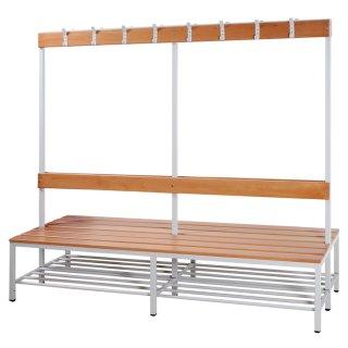 Sitzbankgarderobe mit Buchenholz-Auflage, doppelseitig, 160 cm breit