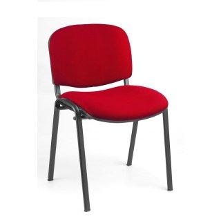 Besucherstuhl gepolstert, ohne Armlehnen, tiefschwarz / rot