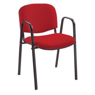 Besucherstuhl gepolstert, mit Armlehnen, tiefschwarz / rot