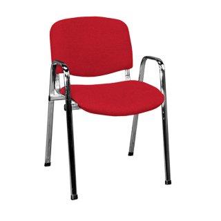 Besucherstuhl gepolstert, mit Armlehnen, verchromt / rot
