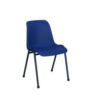 """Formschalenstuhl """"Comfort"""" ohne Armlehnen, Gestell schwarz, Sitzschale blau"""