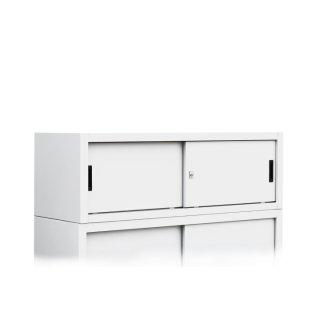 Aufsatzschrank für Schiebetürenschränke 120 cm in RAL 9003 Signalweiß
