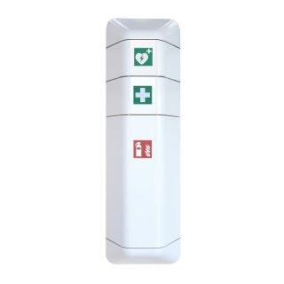 """Feuerlöscherschrank  inkl. Aufsatzschränke für Verbandskasten + Defibrillator  """"Help"""""""
